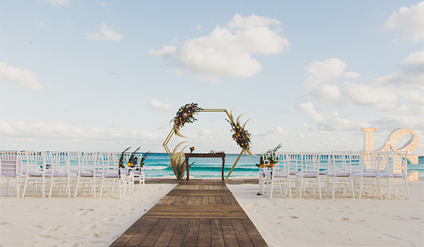 Beautiful wedding altar looking out on the ocean