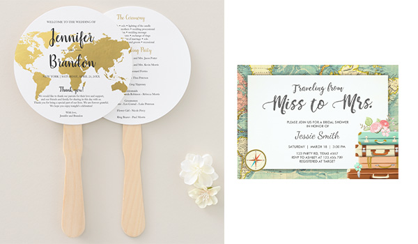 Paper fan on the left and invitation on the right