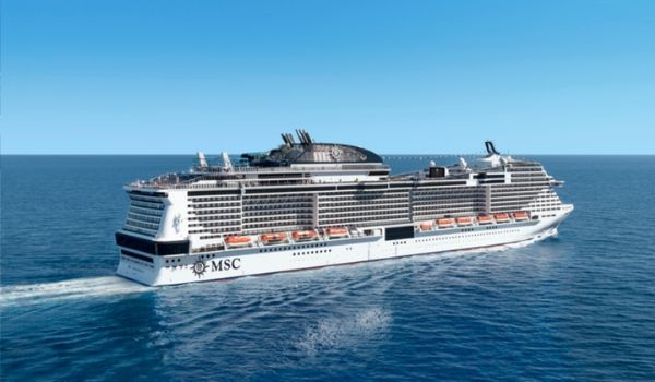 MSC Cruise ship sailing through the ocean