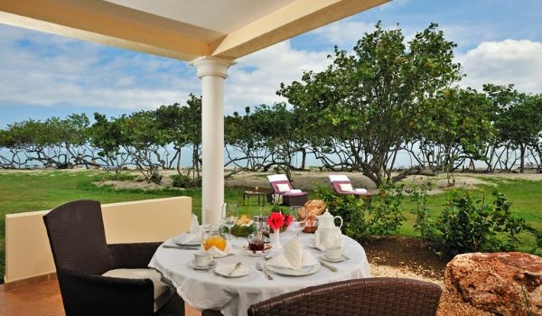 Breakfast set-up overlooking the ocean