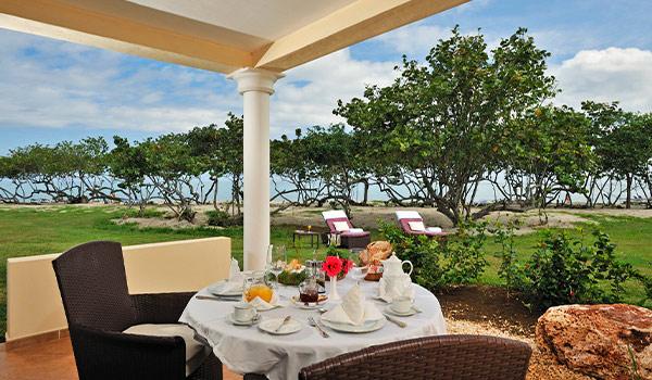 Breakfast set-up overlooking the ocean