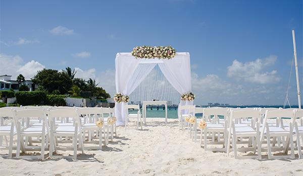 Charming beach wedding venue with elegant altar