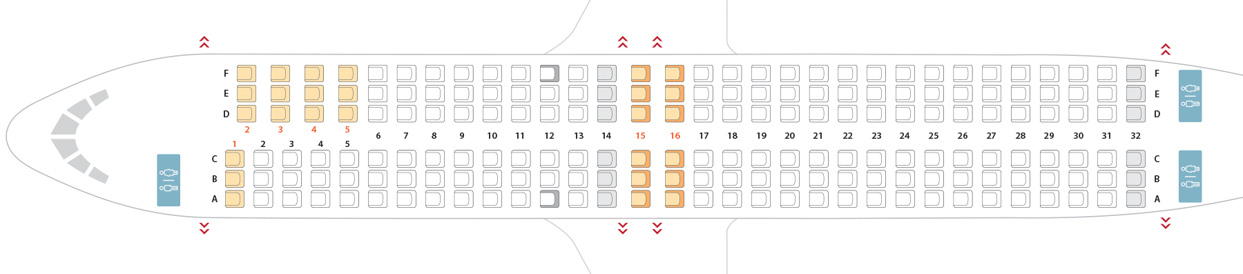 seat configuration Boeing 737-800 Sunwing Airlines