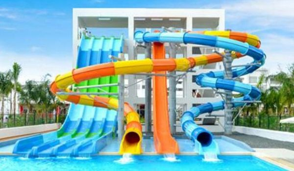 Colourful water slides