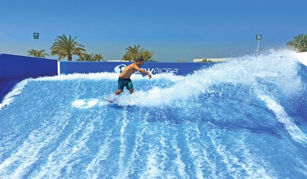 Man surfing on FlowRider