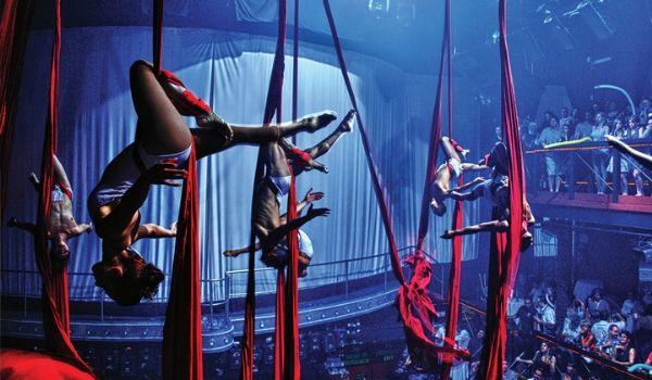 Acrobates suspendus par des tissus au Coco Bongo