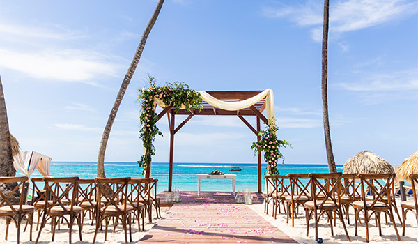 Wedding ceremony on a beach overlooking the ocean