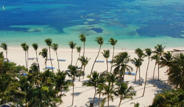 White-sand beaches dotted with palm trees in Punta Cana