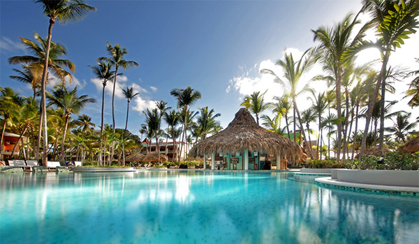 Pool area surrounded by palm trees and palapas