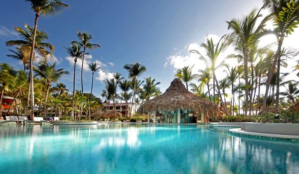 Coin piscine entouré de palmiers et de palapas