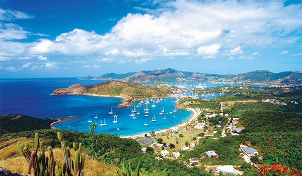 Aerial view of the island of Antigua