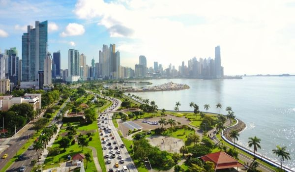 Cityscape of Panama City and the ocean