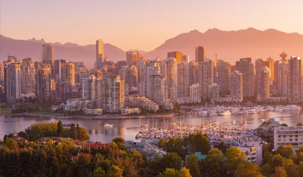 View of the city of Vancouver at sunset