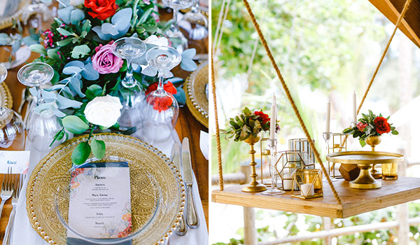 Elegant tablescape on the left and gold decor on the right