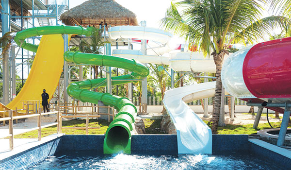 Winding water slides with a pool at the bottom
