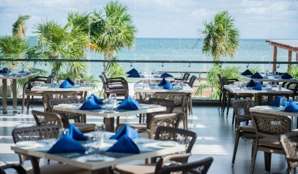 Beautiful outdoor restaurant overlooking the ocean