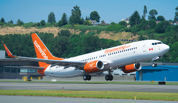 Sunwing plane taking flight