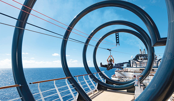 Person ziplining on a cruise ship