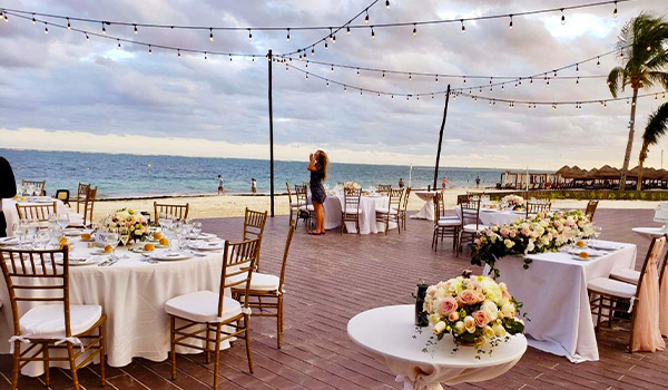 Reception set-up overlooking the beach