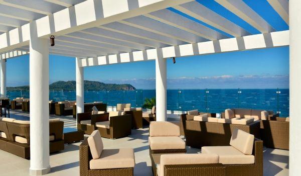 Stylish terrace overlooking the ocean