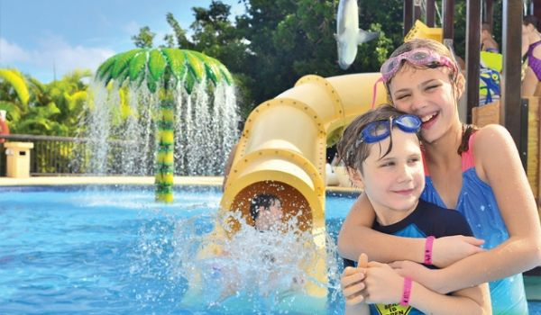 Children playing in water park