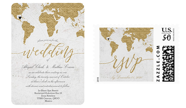 Invitation with a map on the left and postage stamp on the right