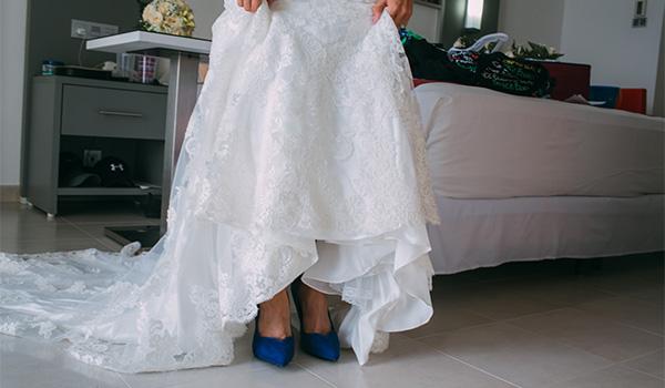 Bride wearing a wedding dress and high heels