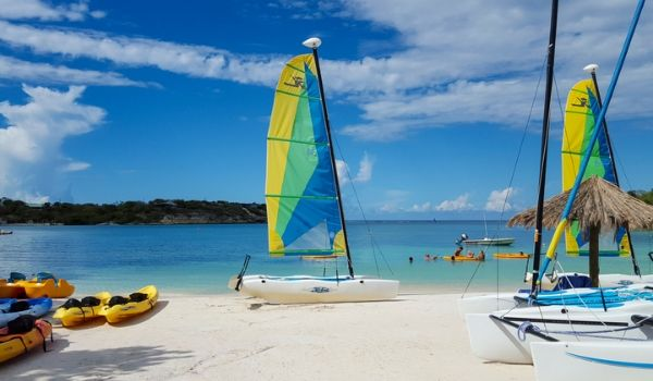 Catamarans and kayaks on the beach