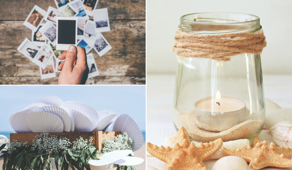 Collage including paper fans, a glass jar and polaroids.