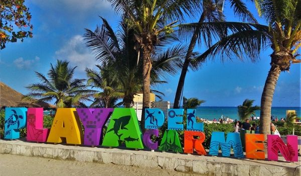 Colourful Playa del Carmen sign on Fifth Avenue