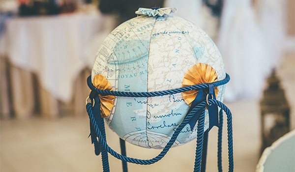 Globe with writing on it