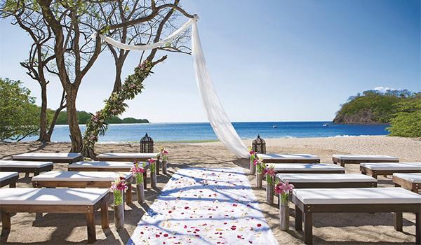 Bohemian wedding ceremony on the beach