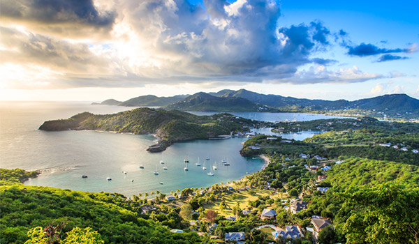 Aerial view of the coast of Antigua at sunset