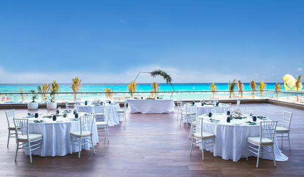 Wedding reception on a terrace overlooking the ocean