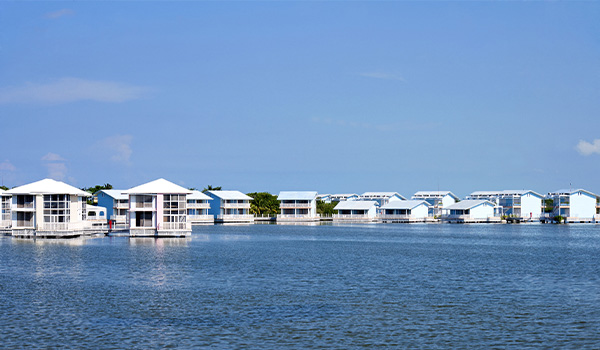 Stilted bungalows perched over the water
