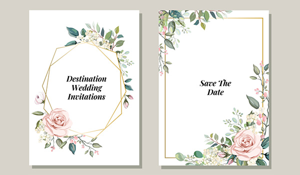 Elegant wedding invitation and save the date card