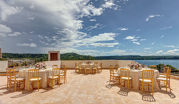 Wedding reception on a rooftop overlooking the jungle