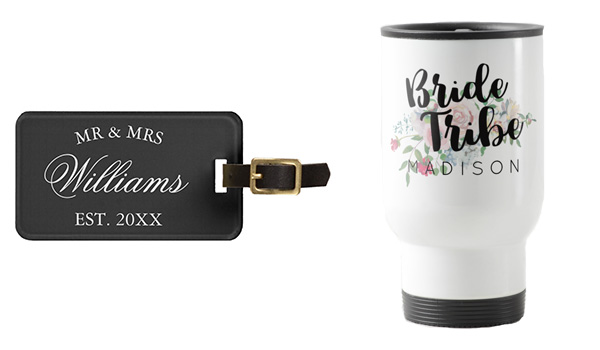 Luggage tag on the left and travel mug on the right