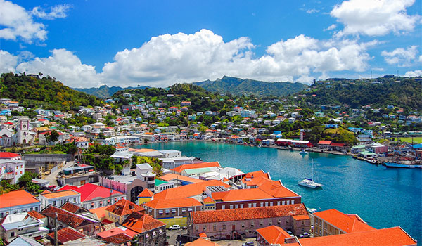 Charming houses surrounded a bay in Grenada