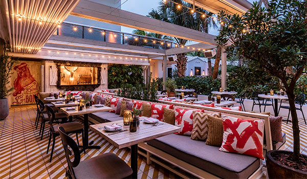 Trendy patio with twinkling lights