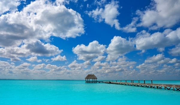 Peaceful pier surrounded by turquoise waters in Isla Holbox