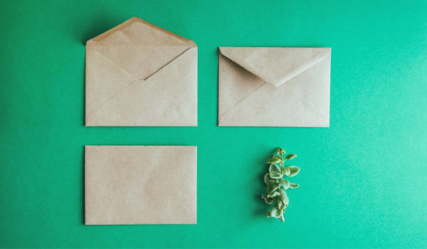 Overhead view of envelopes
