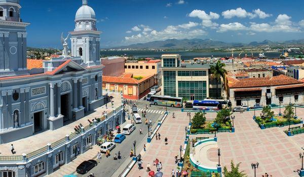 Aerial view of the historic city of Santiago de Cuba