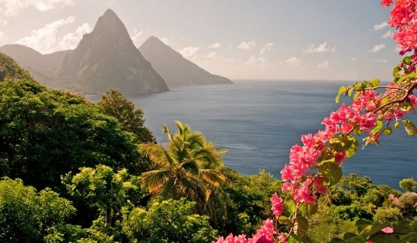 Sunrise over Saint Lucia Pitons