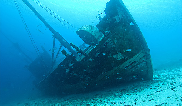 Sunken ship at the bottom of the ocean