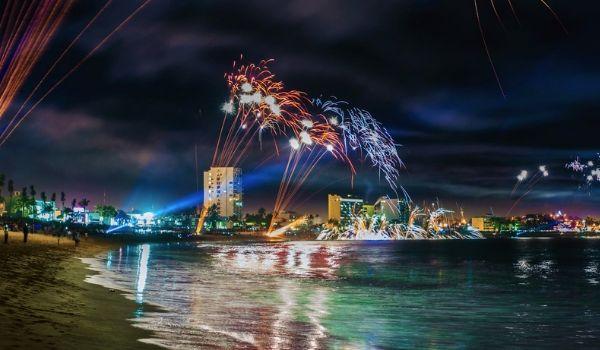 Fireworks light up the night sky along the coast of Mazatlan