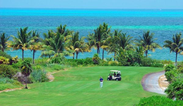 Luxuriant parcours de golf donnant sur l'océan et les palmiers