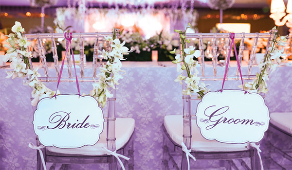 Wedding reception decorated in purple decor