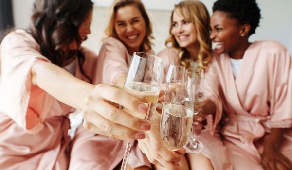 Group of women toasting with champagne