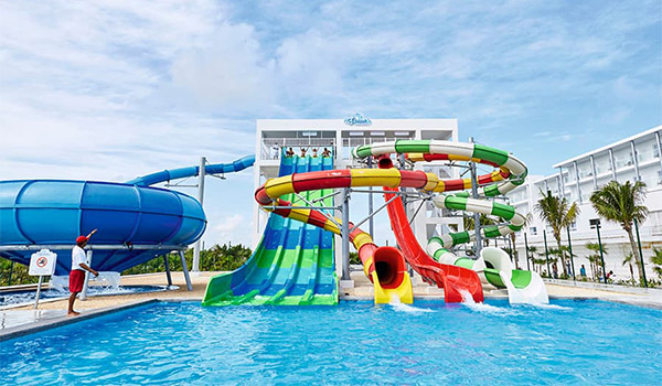 Four water slides side by side